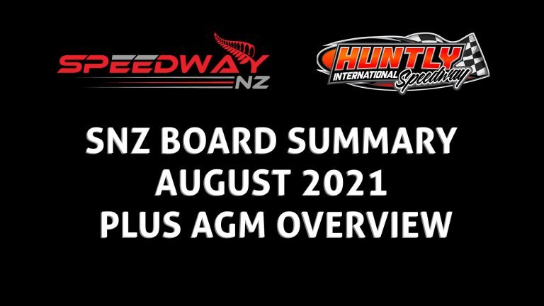 SNZ BOARD SUMMARY AUGUST 2021 & AGM OVERVIEW